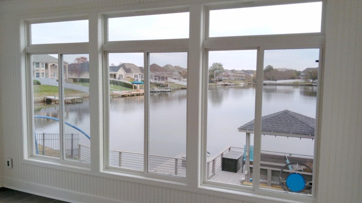 Hatchett Sunroom Addition Maintenance-Free PVC Casement Windows with Transoms