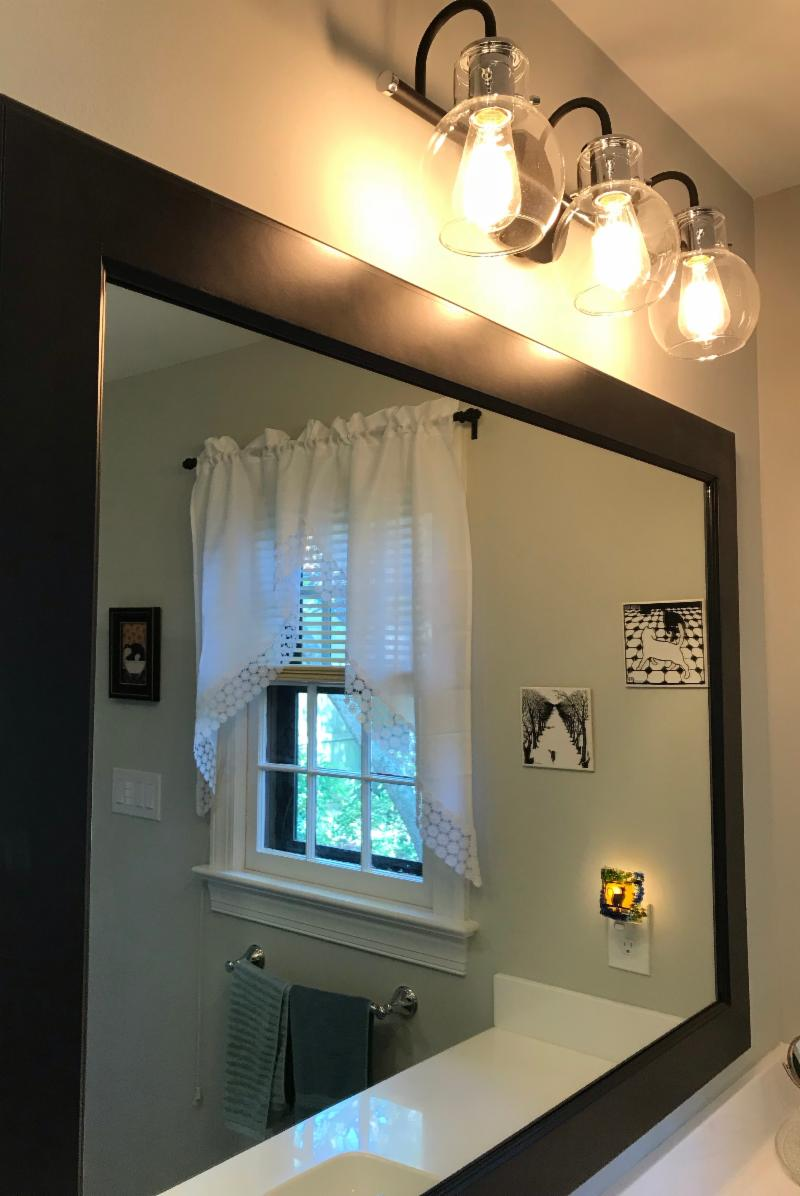 Vann, Bathroom, Remodel, Custom Mirror Frame, Retro Light Fixture