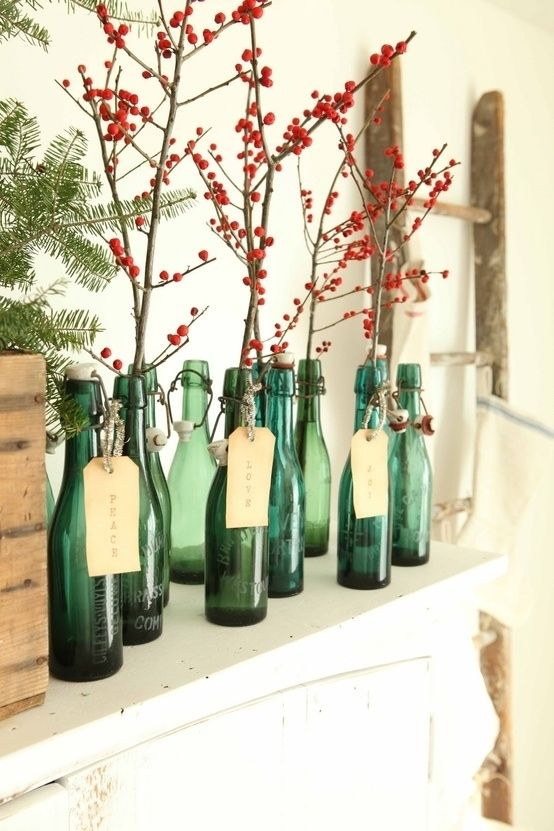 Holiday, Decor, Farmhouse, Natural, Vintage, Red Berries, Antique Bottles