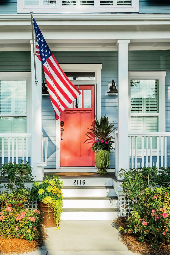4th of July Party Decor American Flag Front Porch