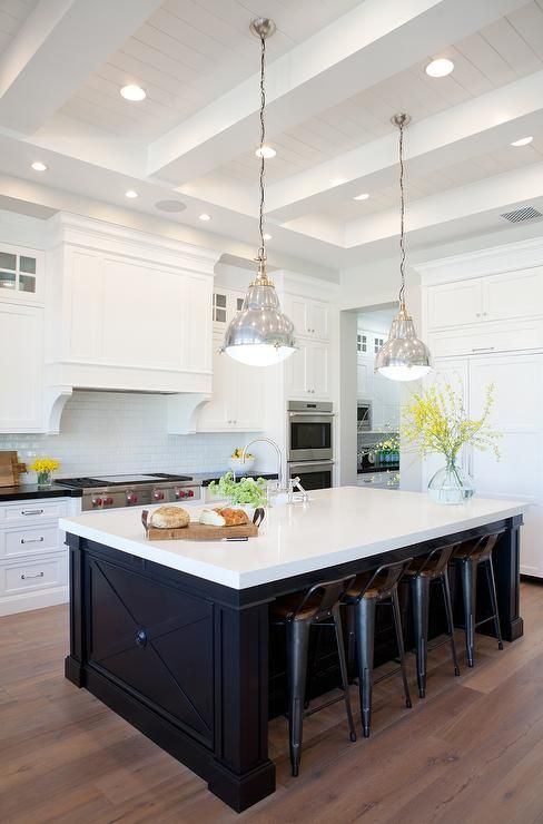 Kitchen Cabinet Trends, White Surround, Colored Island, Black or Blue