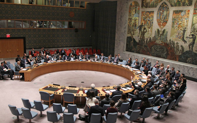The United Nations Security Council adopts Resolution 2216, imposing sanctions on individuals it said were undermining the stability of Yemen, on April 14, 2015.