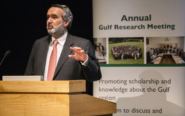 Dr. Abdulaziz Sager, Chairman of the Gulf Research Center, welcomes participants to the Sixth Annual Gulf Research Meeting (GRM). Since the first GRM in 2010, over 1,200 papers have been presented in 86 workshops and scholars from 86 countries have participated in the event.