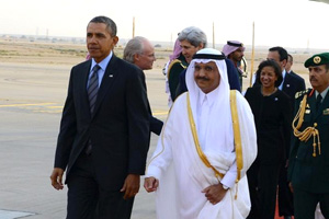 Prince Khaled bin Bandar greets President Barack Obama upon his arrival in Riyadh in March 2014.