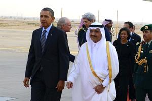 Prince Khaled bin Bandar greets President Barack Obama upon his arrival in Riyadh in March 2014.