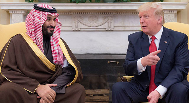 Saudi Arabia's Deputy Crown Prince and Minister of Defense HRH Prince Mohammed bin Salman meets with U.S. President Donald Trump in Washington, D.C., on March 14, 2017.