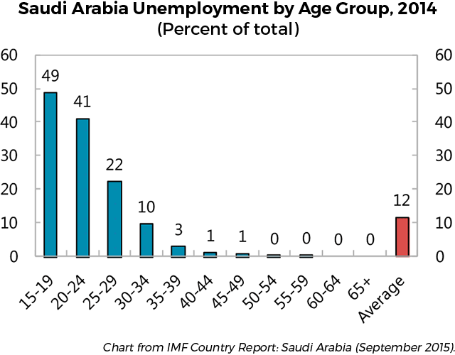 Saudi Arabia's Unemployment by Age Group, 2014