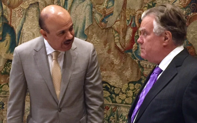 H.E. Dr. Abdul Latif bin Rashid Al Zayani with National Council on U.S.-Arab Relations Founding President & CEO Dr. John Duke Anthony at the Seventh Annual Gulf Research Meeting in Cambridge, United Kingdom. Photo: National Council on U.S.-Arab Relations.
