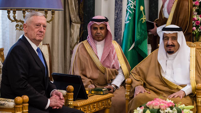 U.S. Secretary of Defense Jim Mattis meets with Saudi Arabia's King Salman Bin Abdulaziz Al-Saud in Riyadh, Saudi Arabia, on April 19, 2017.
