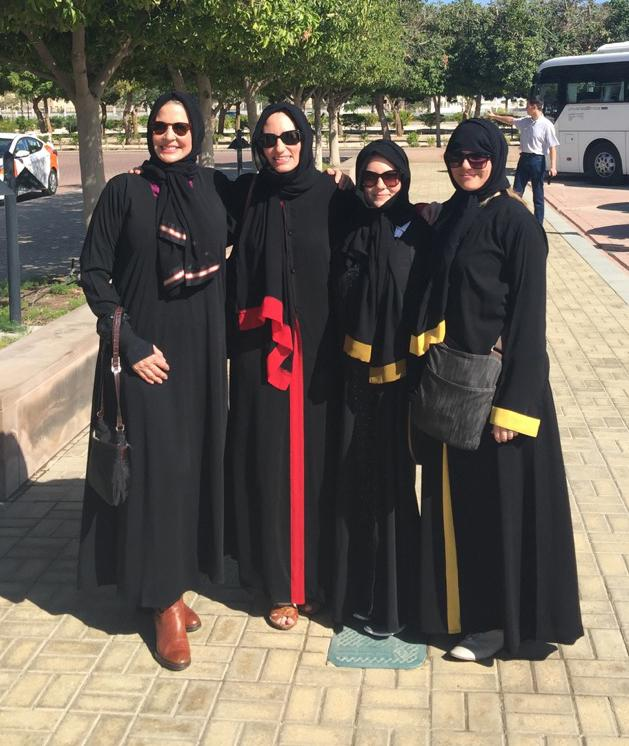Before entering The Sultan Qaboos Grand Mosque, the four women in the delegation dressed respectfully in abayas and traditional head coverings.