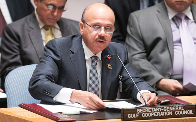 H.E. Dr. Abdul Latif Al Zayani, Secretary General of the Gulf Cooperation Council, addresses a meeting of the United Nations Security Council concerning the situation in Yemen in September 2013.