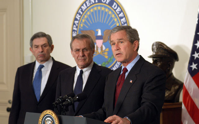 Then-President George W. Bush with then-Secretary of Defense Donald H. Rumsfeld and then-Deputy Secretary of Defense Paul Wolfowitz in March 2003. Photo: U.S. Department of Defense.