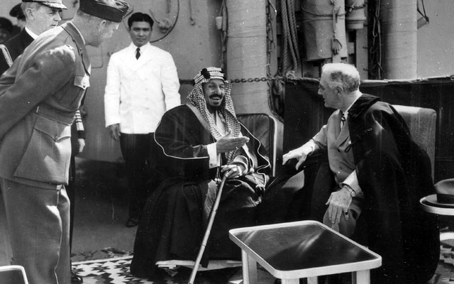 President Franklin Delano Roosevelt met King Abdulaziz bin Abdul Rahman Al Sa'ud aboard the U.S.S. Quincy in the Great Bitter Lake in Egypt on February 14, 1945.