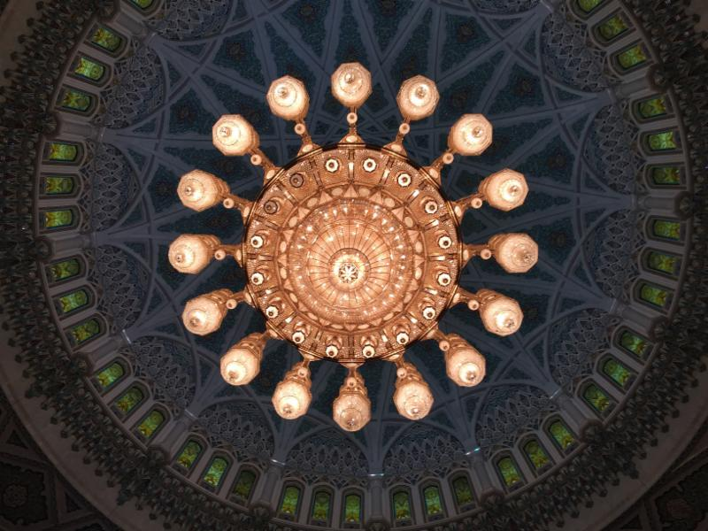The mosque's spectacular chandelier is made of Swarovski crystal and gold-plated metalwork. It has 1,200 dimmable halogen lamps triggered by more than 36 switching circuits and weighs 8.5 tons. Its dimensions are 26 feet by 46 feet.