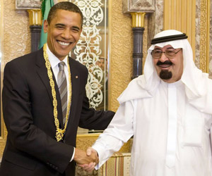 President Barack Obama with HRH King Abdullah bin Abdulaziz Al Sa'ud, when the former visited the latter in June 2009.