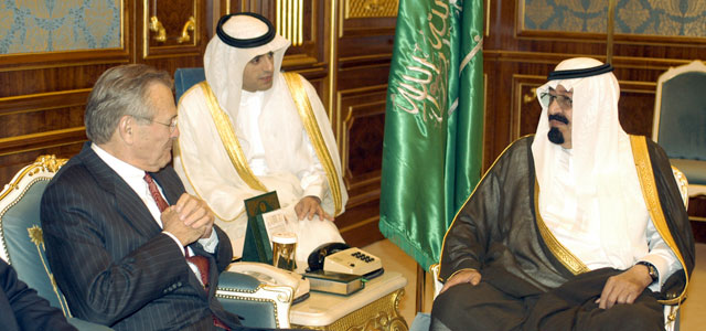 Then-Secretary of Defense Donald H. Rumsfeld meets with Saudi Arabia's then-Crown Prince Abdullah bin Abdulaziz Al Sa'ud in Riyadh, Saudi Arabia, in April 2003. Photo: U.S. Department of Defense.