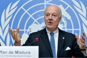 Staffan de Mistura, United Nations Special Envoy for Syria, speaks in Geneva, Switzerland in January 2015.