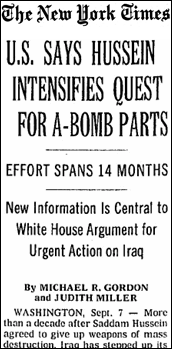 A September 2002 article in The New York Times warned Saddam Hussein was renewing his interest in acquiring nuclear arms, noting anonymous officials argued that, 'the first sign of a smoking gun may be a mushroom cloud.'