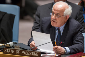 Riyad H. Mansour, Permanent Observer of the State of Palestine to the United Nations, addresses the Security Council after a draft resolution submitted by Jordan on the establishment of