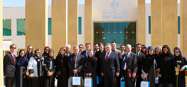 A National Council on U.S.-Arab Relations delegation of Model Arab League students and faculty advisers, led by National Council Founding President and CEO Dr. John Duke Anthony, visits Queen Effat University in Jeddah, Saudi Arabia.