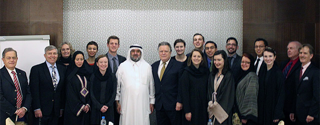 A National Council Model Arab League delegation meets with Gulf Research Center (GRC) Founder and Chairman Dr. Abdulaziz Sager in Jeddah, Saudi Arabia. In 2015, the Council signed a Memorandum of Understanding with the GRC to collaborate on programs, publications, and activities analyzing the Gulf Cooperation Council (GCC), the GCC's six member countries, Arabia and the Gulf as a whole, and U.S. relations with the region. Photo: National Council on U.S.-Arab Relations.