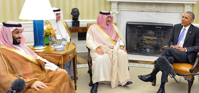 Saudi Arabian leaders meeting President Obama in the Oval Office.