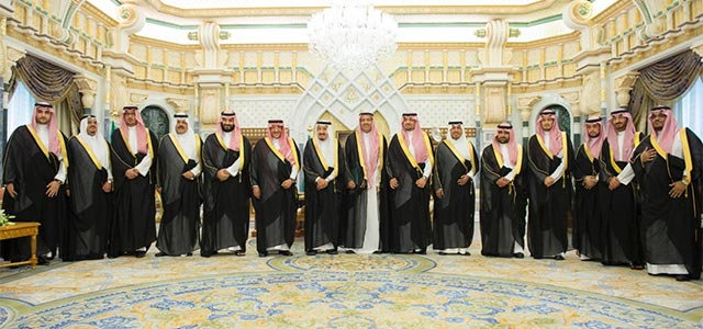 Saudi Arabian princes and ministers designated to new posts with the King, Crown Prince, and Deputy Crown Prince.