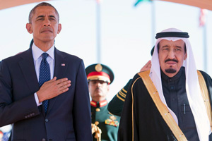 Custodian of the Two Holy Mosques King Salman bin Abdulaziz Al Sa'ud and President Barack Obama during the president's January 27, 2015, visit to Saudi Arabia.