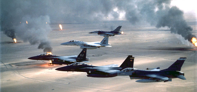 U.S. planes fly over burning oil wells in Kuwait in 1991. Photo: U.S. Air Force.