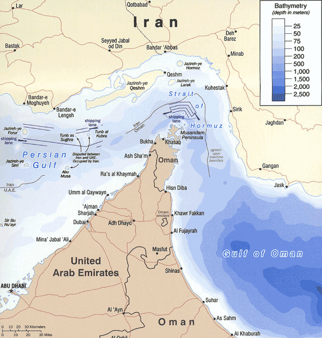 The Strait of Hormuz, only 21 miles wide at its narrowest point, is the conduit for approximately 40 percent of the world's oil tanker traffic. Map courtesy of the University of Texas Libraries, The University of Texas at Austin.