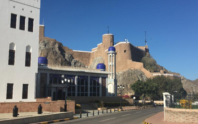 Old Muscat's Al-Khor Mosque below the Mirani Fort, which overlooks the Sea of Oman.