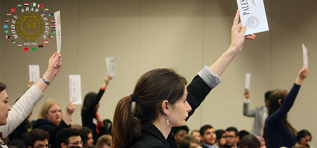 Model Arab League students vote during a conference in Washington, DC.