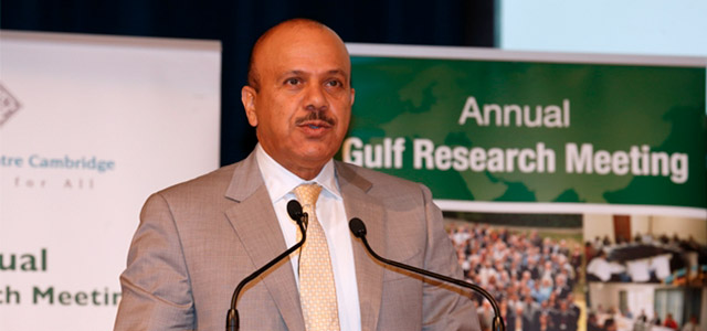GCC Secretary General Dr. Abdul Latif Bin Rashid Al Zayani delivers the Opening Keynote Address at the Seventh Annual Gulf Research Meeting in Cambridge, United Kingdom. Photo: Gulf Research Center.