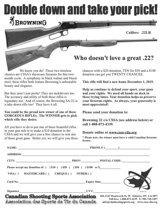 CSSA GUN DRAW FOR DECEMBER 1 2019