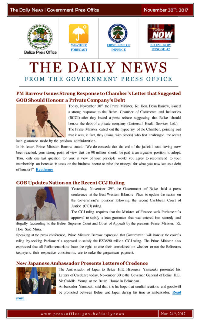 The Daily News from the Government of Belize Press Office, November 30th edition