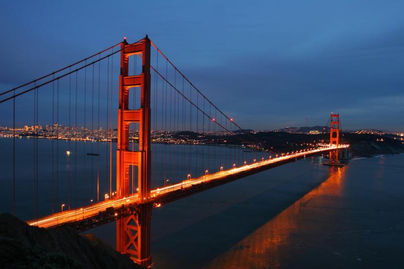 Golden Gate Bridge at dusk, San Francisco, California, USA