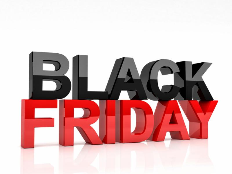3d image of black friday text on white background