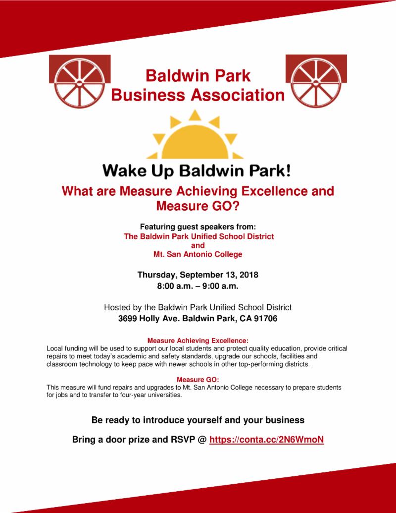 September Wake Up Baldwin Park