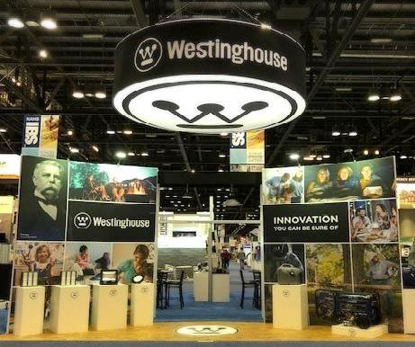 Westinghouse booth display at Builders' Show 2018.