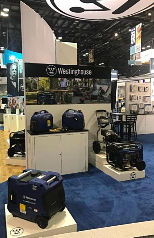 Westinghouse generators product display at Builders' Show 2018.