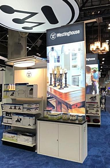Westinghouse Lighting product display at Builders' Show 2018.