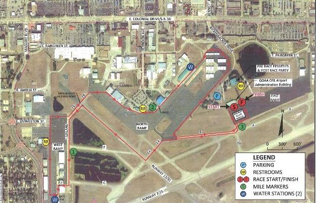 Executive Airport 5K run Map
