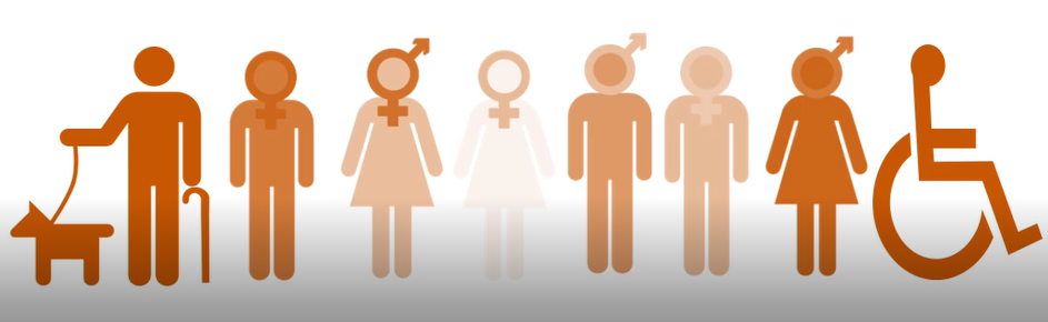 Clip art image of 8 people representing numerous disabilities and gender identities.