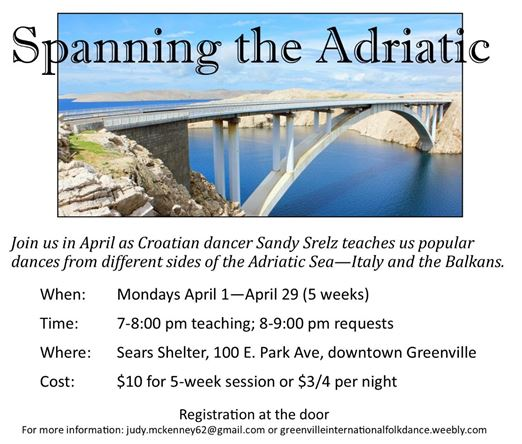 Spanning the Adriatic:  learn popular dances from Italy and the Balkans @ Sears Shelter