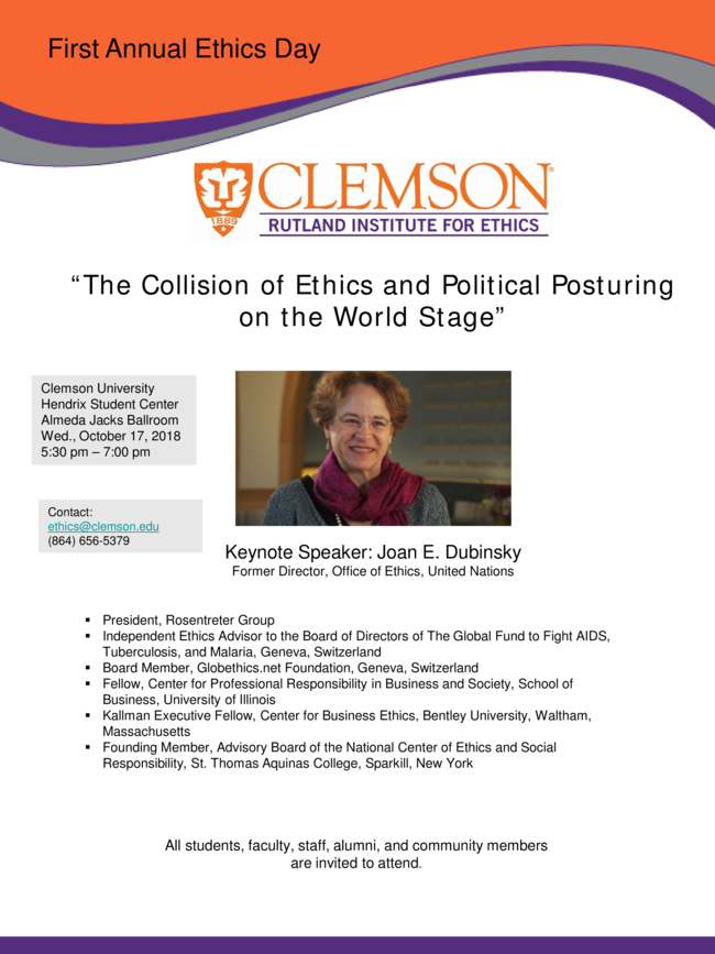 """""""The Collision of Ethics and Political Posturing on the World Stage"""" @ Clemson University Hendrix Student Center"""